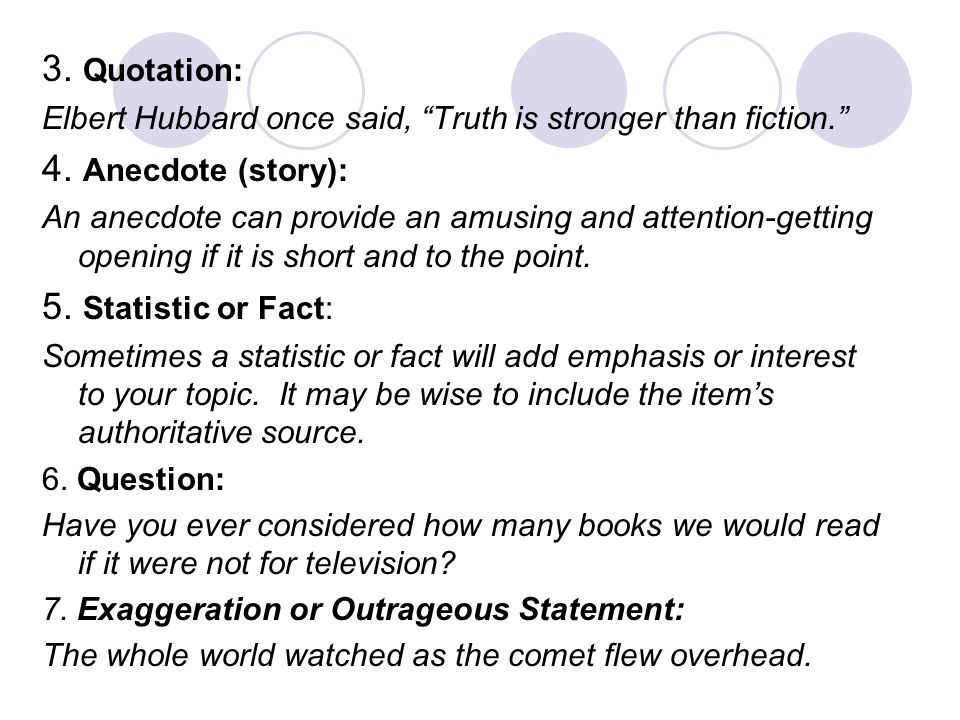3. Quotation: 4. Anecdote (story): 5. Statistic or Fact: