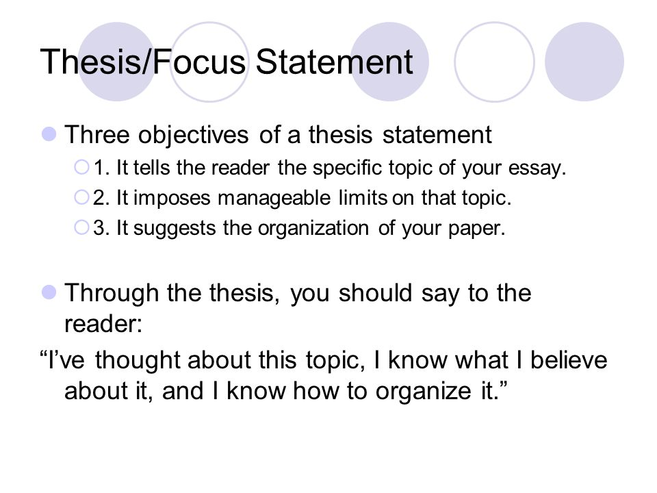 Thesis/Focus Statement