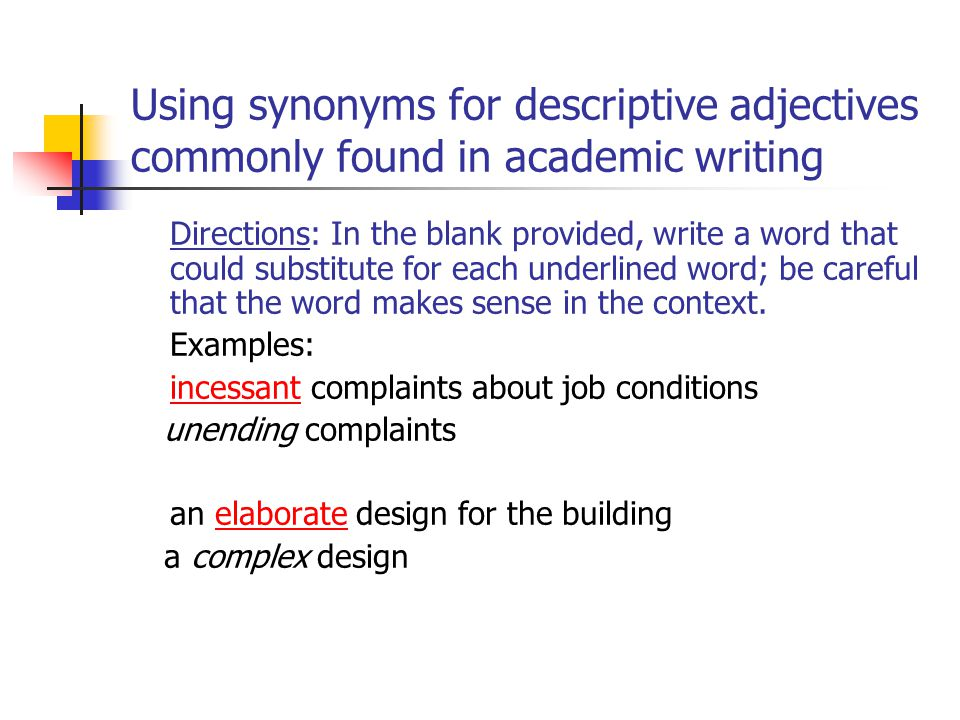 Linguistic Challenges Of Summary And Paraphrase Ppt Video Online. Using Synonyms For Descriptive Adjectives Monly Found In Academic Writing. Worksheet. Using Descriptive Adjectives Worksheet Module 9 At Clickcart.co