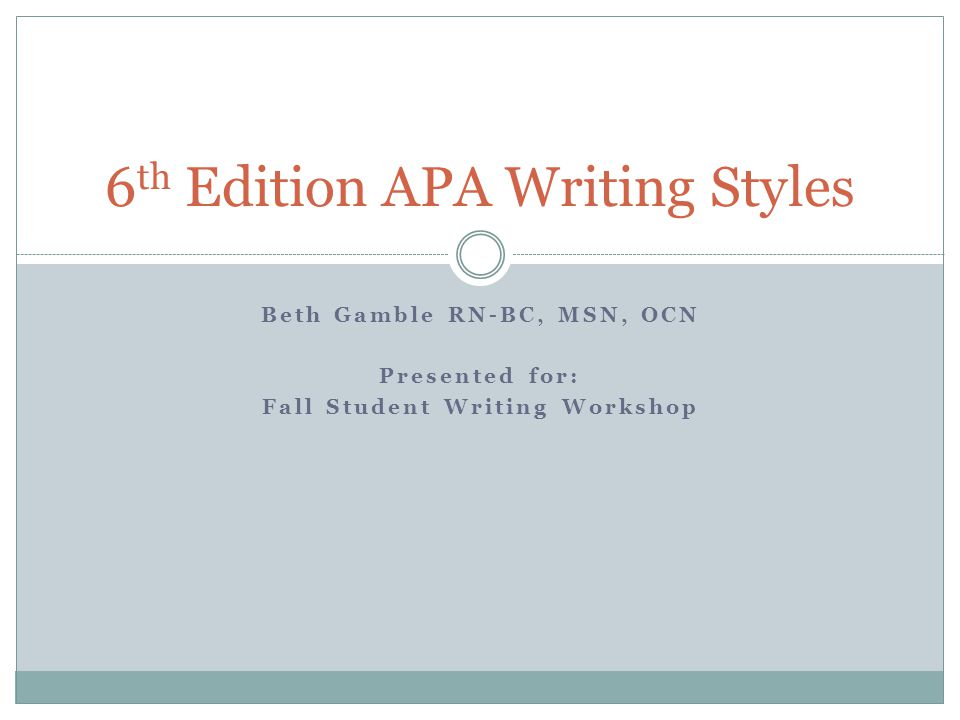 6th edition apa writing styles ppt download