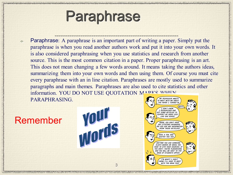 do you put quotes around a paraphrase