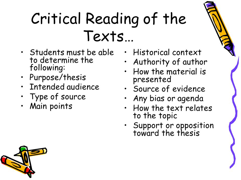 Critical Reading of the Texts…