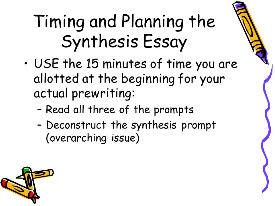 Timing and Planning the Synthesis Essay