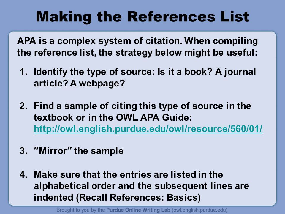 Apa formatting and style guide ppt video online download 10 making the references list ccuart Gallery