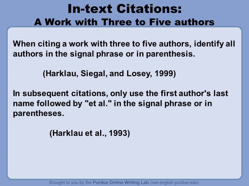 Apa formatting and style guide ppt video online download in text citations a work with three to five authors ccuart Gallery