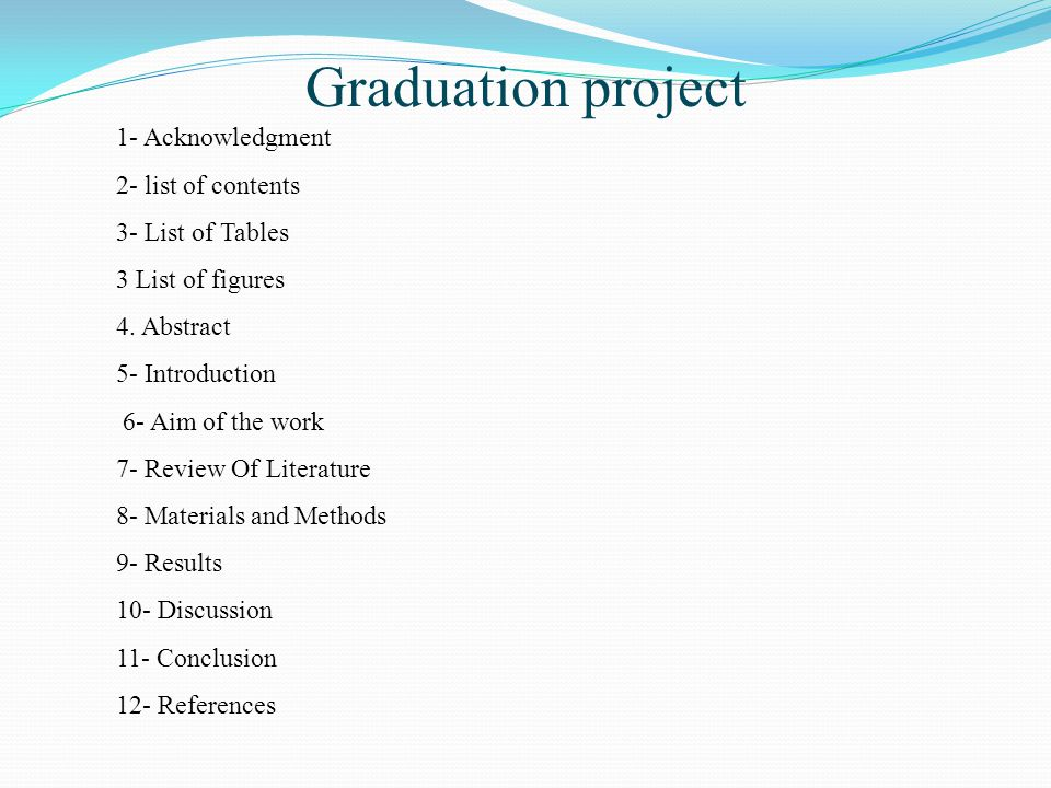 Graduation project 1- Acknowledgment 2- list of contents