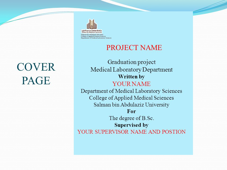 COVER PAGE PROJECT NAME Graduation project