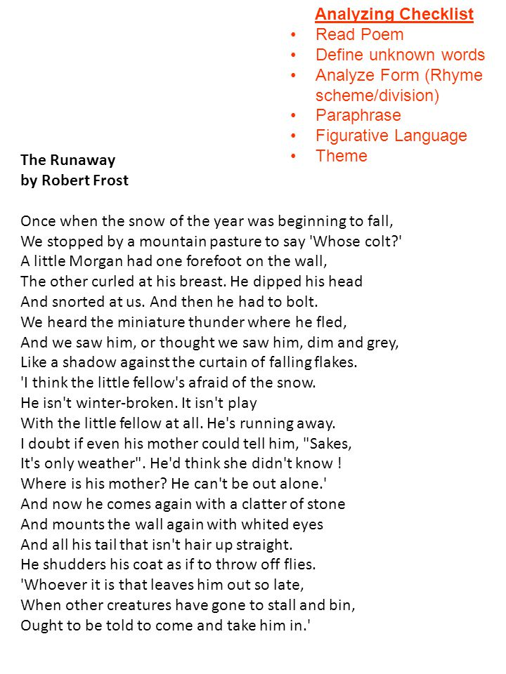 the runaway robert frost