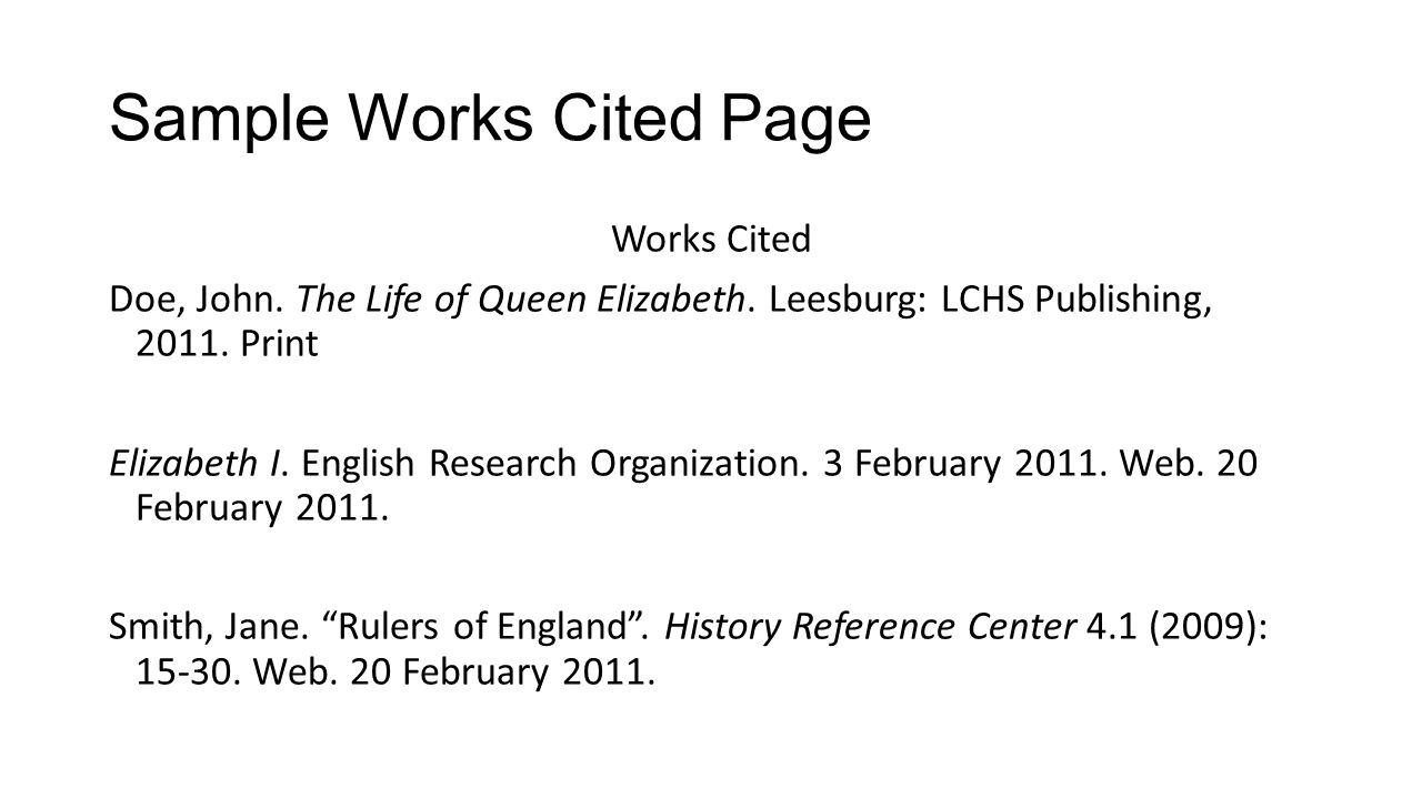 work or works cited