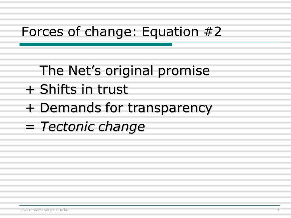Forces of change: Equation #2