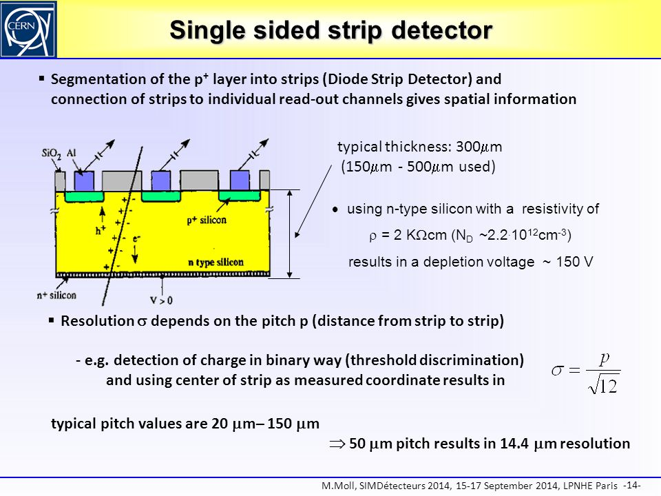 Single sided strip detector