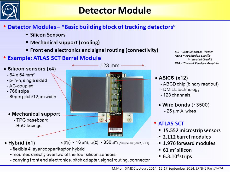 Detector Module Detector Modules – Basic building block of tracking detectors Silicon Sensors. Mechanical support (cooling)