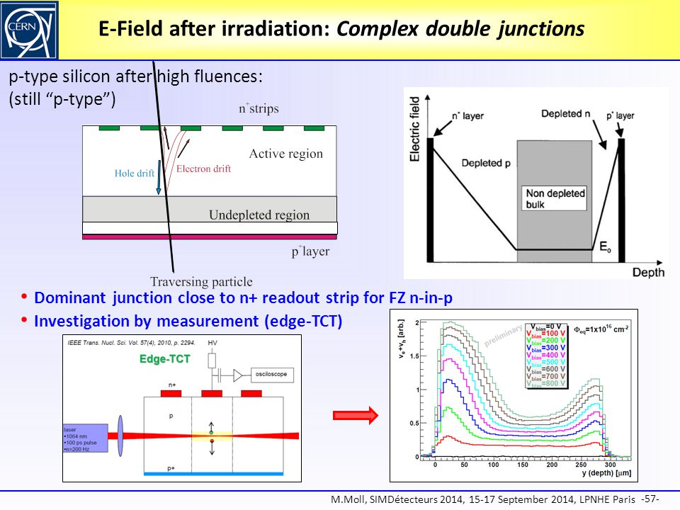 E-Field after irradiation: Complex double junctions