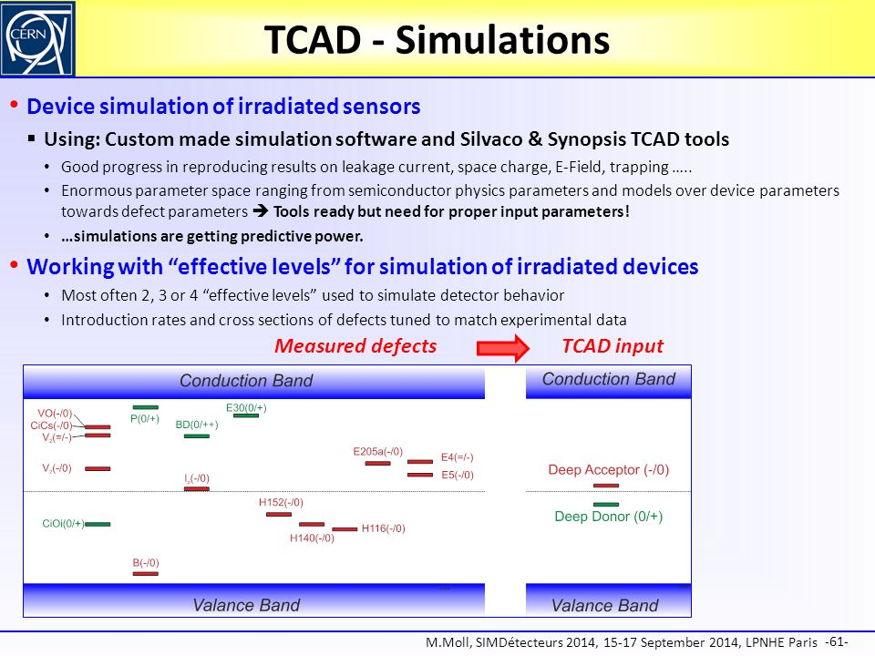 TCAD - Simulations Device simulation of irradiated sensors