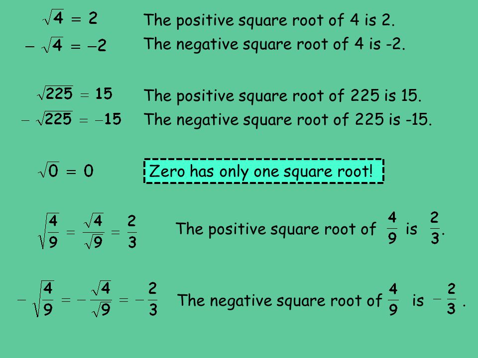 The positive square root of 4 is 2.