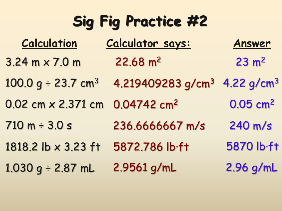 Sig Fig Practice #2 Calculation Calculator says: Answer 3.24 m x 7.0 m