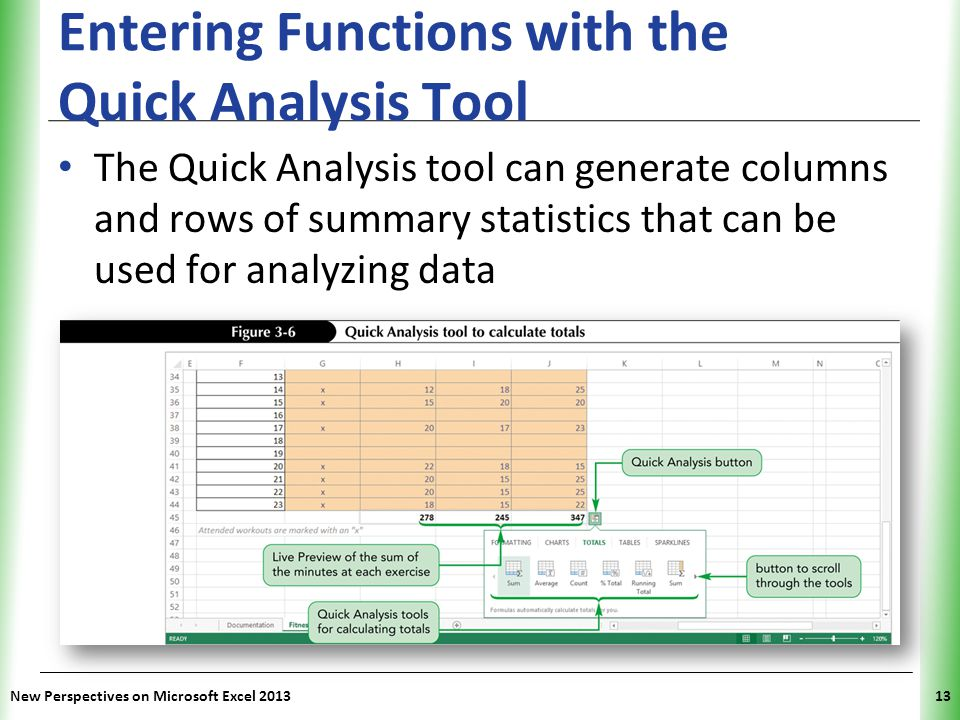 Entering Functions with the Quick Analysis Tool