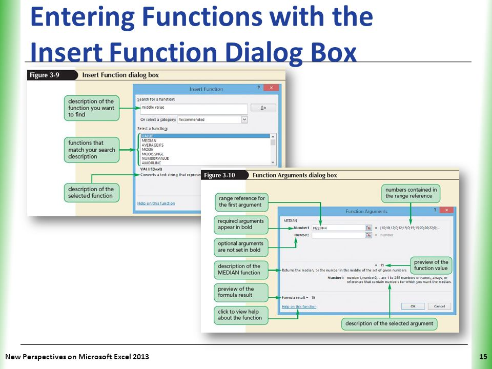 Entering Functions with the Insert Function Dialog Box