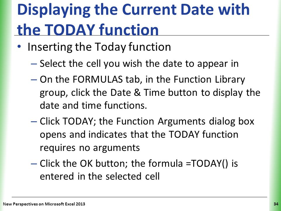 Displaying the Current Date with the TODAY function
