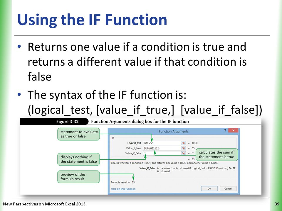 Using the IF Function Returns one value if a condition is true and returns a different value if that condition is false.