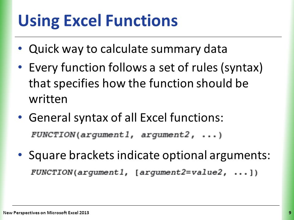 Using Excel Functions Quick way to calculate summary data