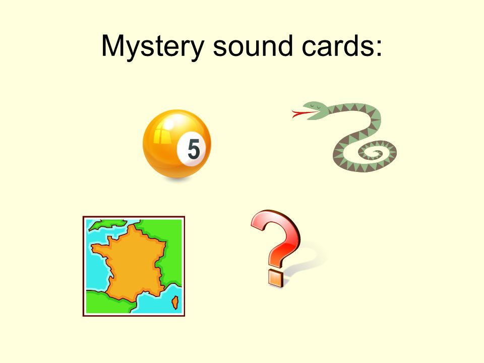 Mystery sound cards: Common sound is 's' – in France, serpent, cinq, question
