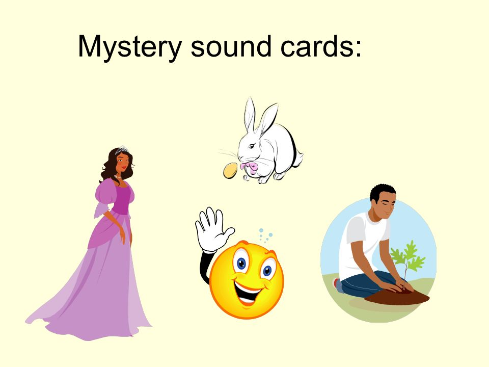 Mystery sound cards: Common sound is nasal 'in' – lapin, princesse, main, jardin/sapin.