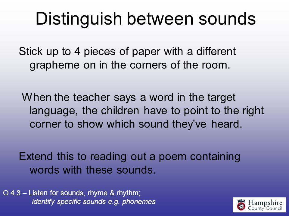 Distinguish between sounds