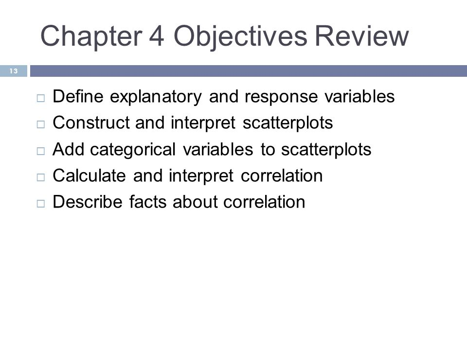 Chapter 4 Objectives Review
