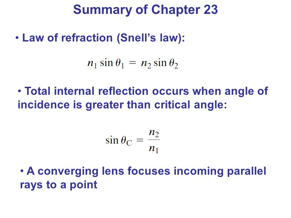 Summary of Chapter 23 Law of refraction (Snell's law):