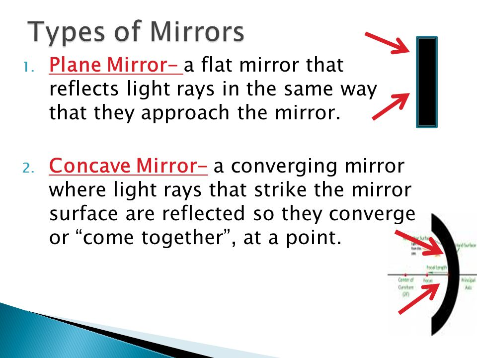 Types of Mirrors Plane Mirror- a flat mirror that reflects light rays in the same way that they approach the mirror.