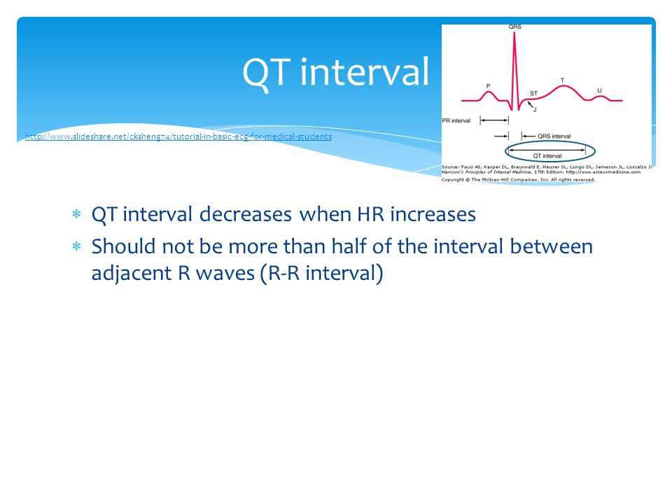 QT interval QT interval decreases when HR increases