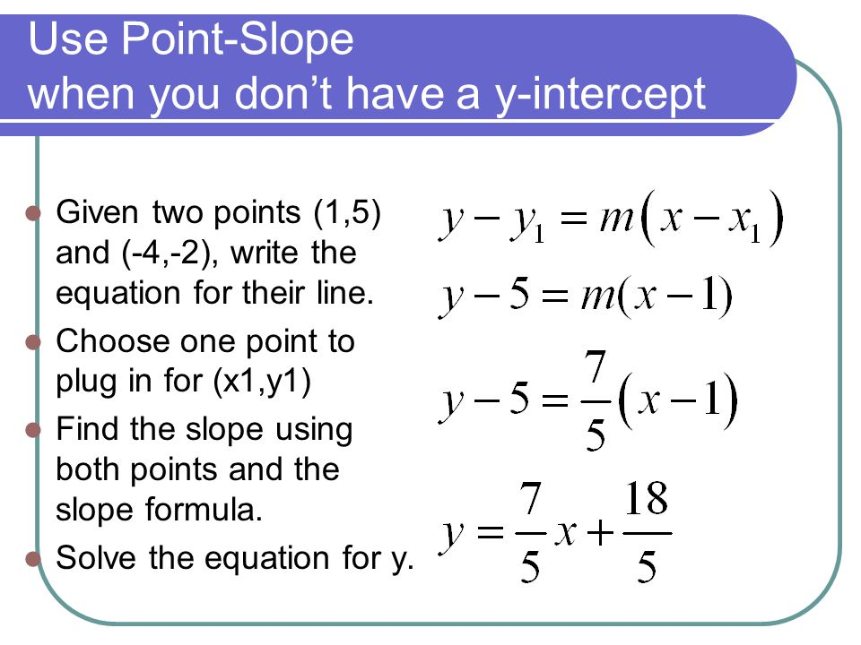 y intercept formula with two points  Linear Equations in Two Variables - ppt video online download