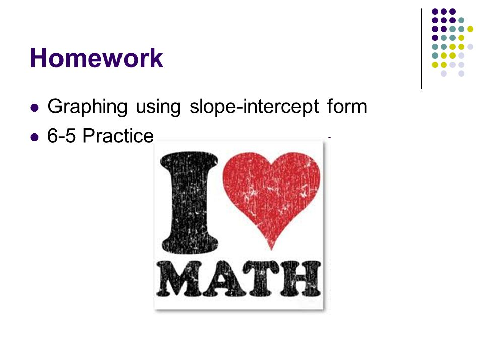 Homework Graphing using slope-intercept form 6-5 Practice