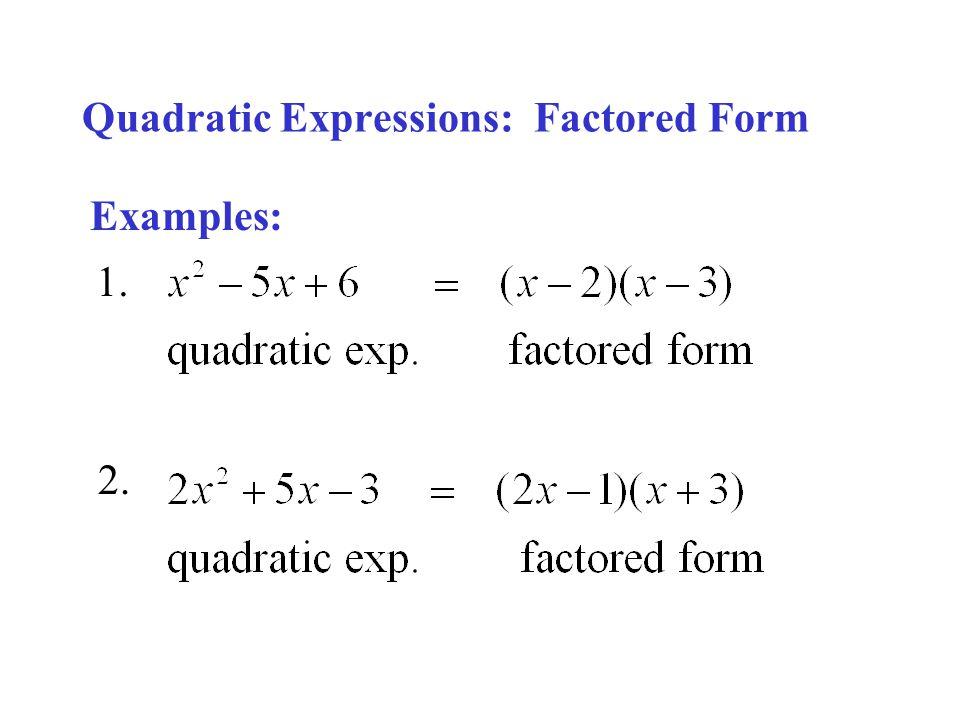 Quadratic Functions Quadratic Expressions Quadratic Equations