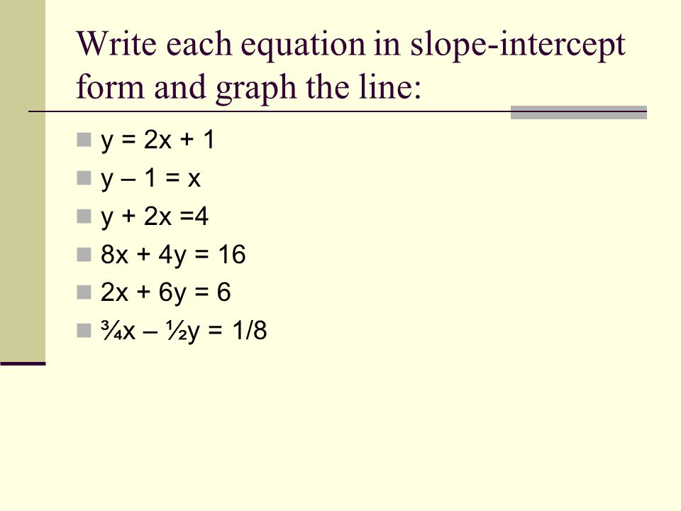 Write each equation in slope-intercept form and graph the line: