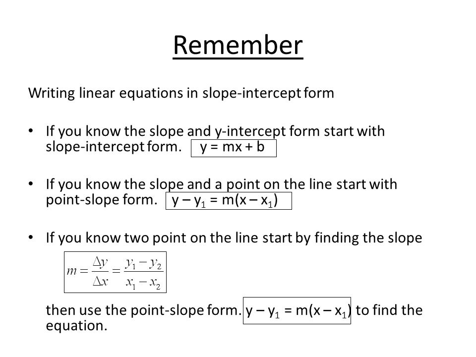 Slope Intercept And Point Slope Forms Of A Linear Equation Ppt