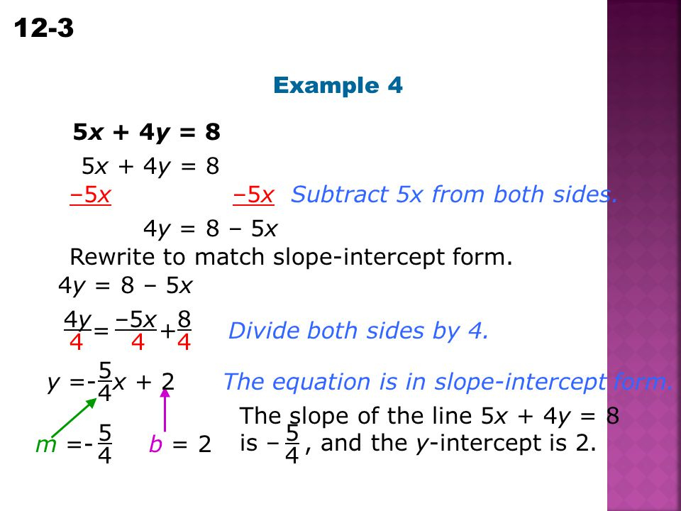 Example 4 5x + 4y = 8. 5x + 4y = 8. –5x –5x. Subtract 5x from both sides. 4y = 8 – 5x.