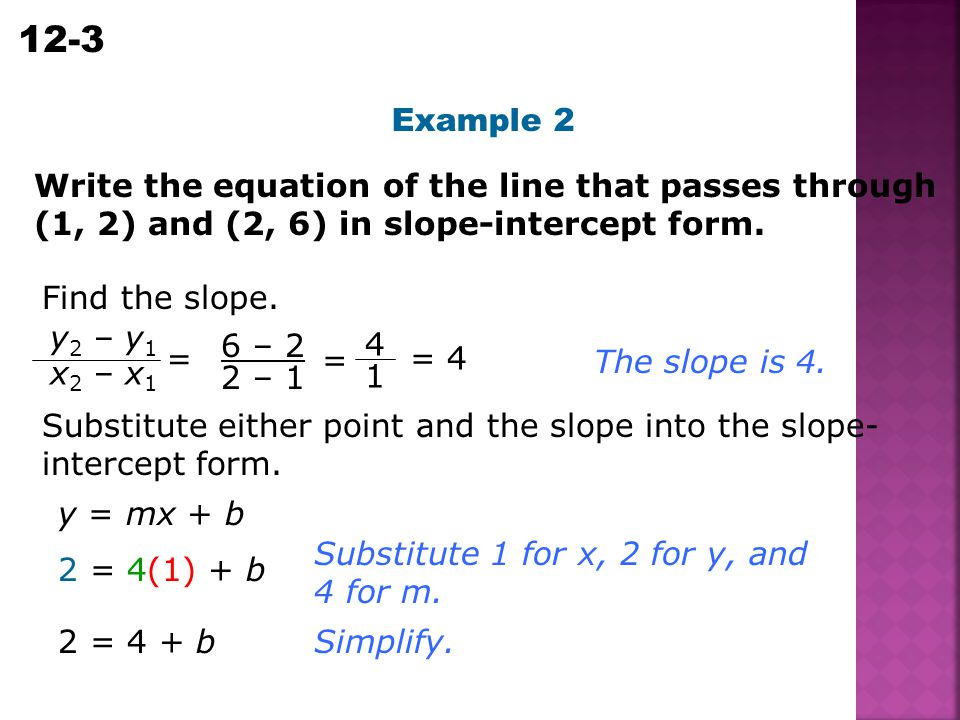 Example 2 Write the equation of the line that passes through (1, 2) and (2, 6) in slope-intercept form.