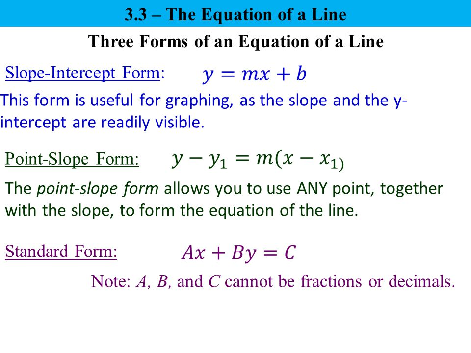 Three Forms Of An Equation Of A Line Ppt Video Online Download