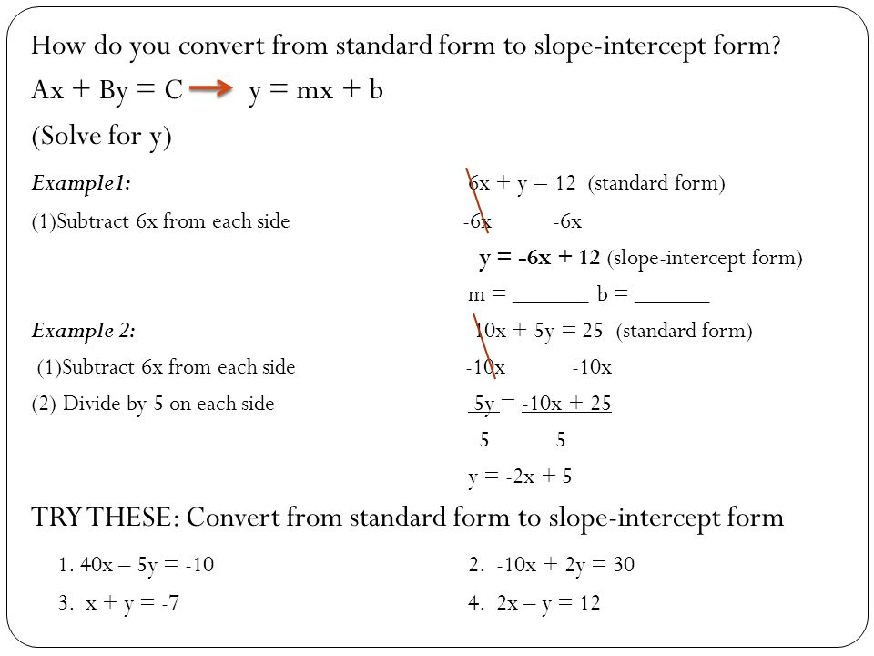 Standard And Slope Intercept Forms Ppt Video Online Download