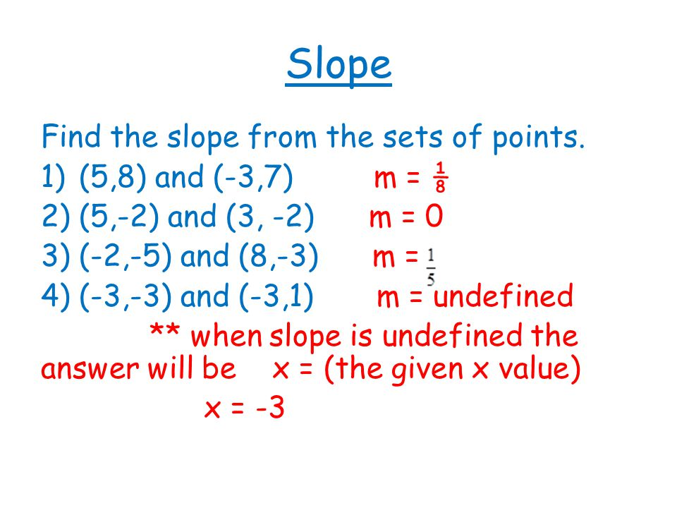 point slope form if slope is undefined  Slope and Linear Equations - ppt video online download