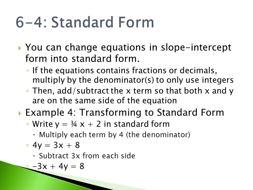 6 4 Standard Form Essential Question How Do We Convert From Y