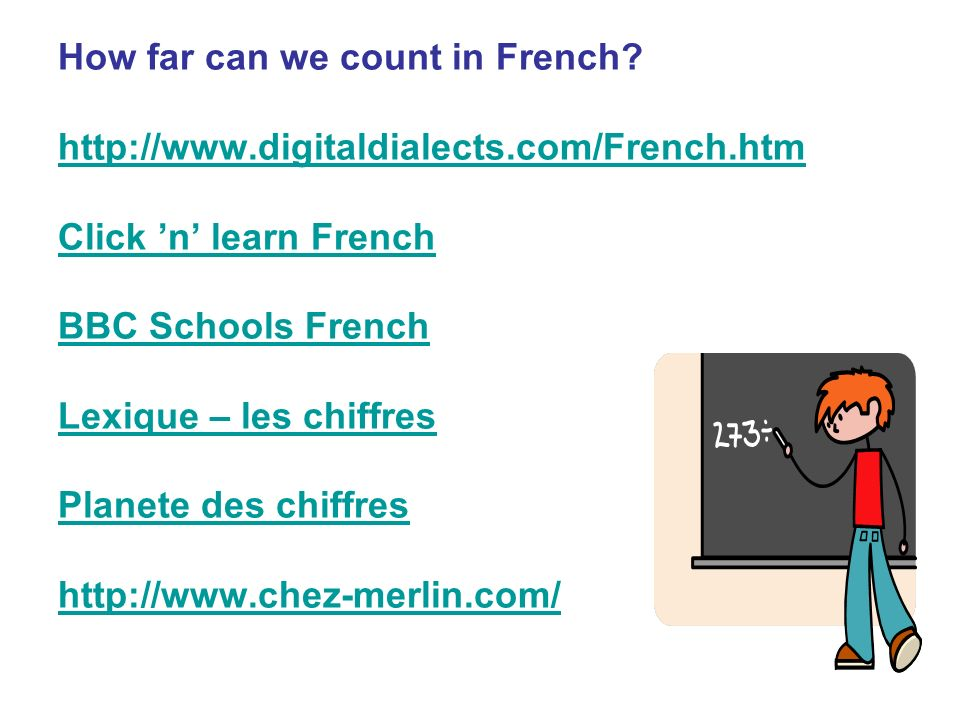 How far can we count in French.