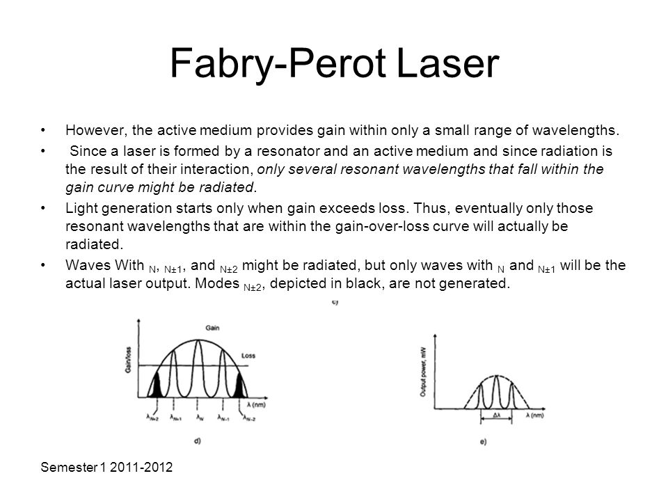 Fabry-Perot Laser However, the active medium provides gain within only a small range of wavelengths.