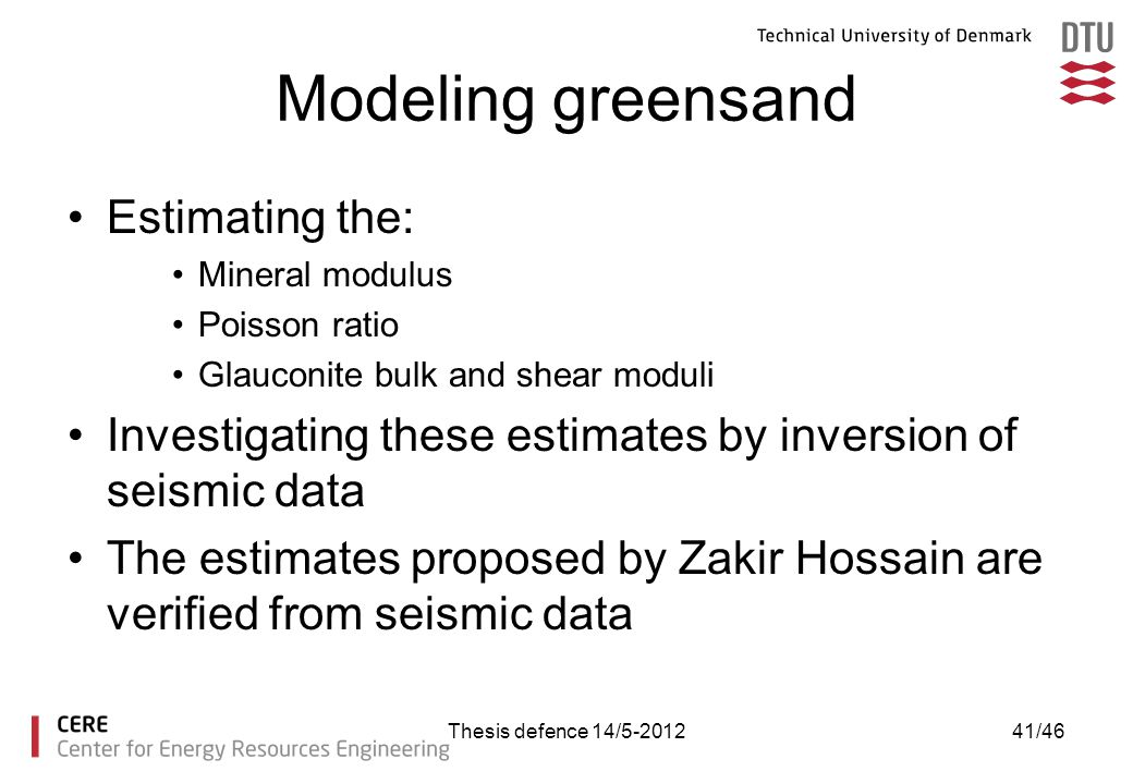 Modeling greensand Estimating the:
