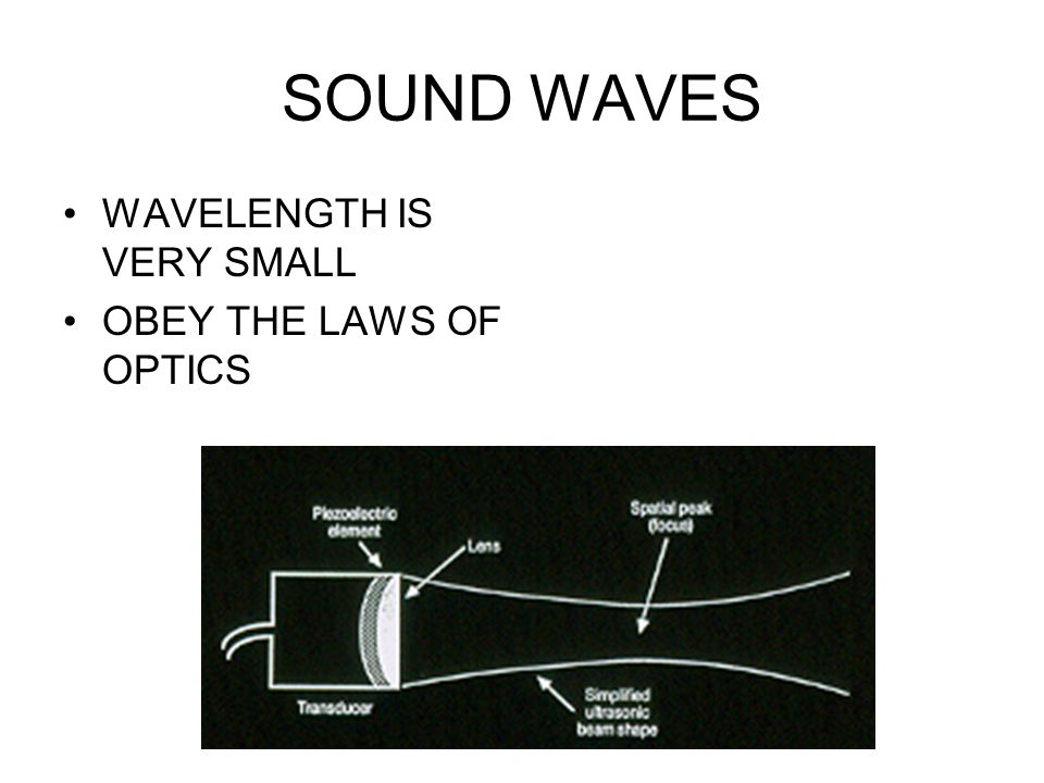 SOUND WAVES WAVELENGTH IS VERY SMALL OBEY THE LAWS OF OPTICS