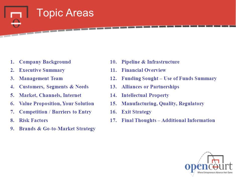 topic areas 1 company background 2 executive summary