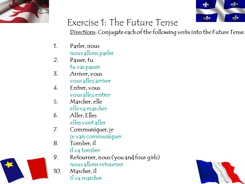 Exercise 1: The Future Tense