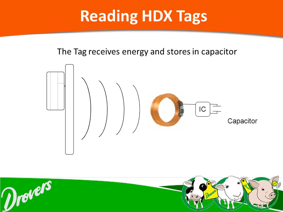 The Tag receives energy and stores in capacitor